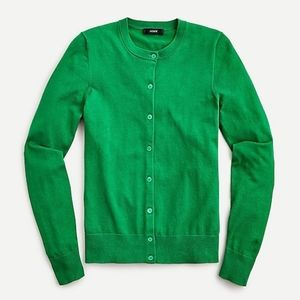 🆕 J Crew Green Cotton Jackie cardigan sweater